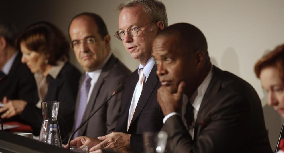 google-executive-chairman-schmidt-sits-next-to-members-of-a-panel-before-a-meeting-about-the-right-to-be-forgotten-in-madrid