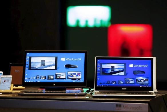 windows-10-installed-laptop-computers-are-displayed-at-microsoft-china-center-one-in-beijing